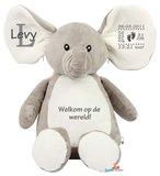Geboorteknuffel olifant grijs