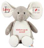 Geboorteknuffel olifant rood