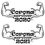Corona survivor 2020/2021 T-shirt of hoodie. S t/m 5XL_