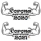 Corona survivor 2020/2021 dames T-shirt of hoodie. XS t/m 3XL_