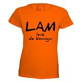 Lam leve de koningin. Dames T-shirt in div. kleuren. XS t/m 3XL_