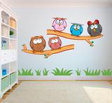 Crazy owls set (gekke uilen set) full color muursticker_