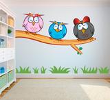 Crazy owls 2 (gekke uilen) full color muursticker_
