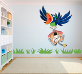 Gekke vogel met klok full color muursticker_