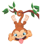 Crazy monkey hangend aan tak Muursticker_