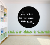 I love you to the moon and back cirkel. Muursticker_
