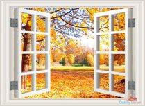 Open raam met herfst uitzicht. Full color muursticker