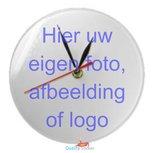 Klok rond met eigen afbeelding, foto of logo.