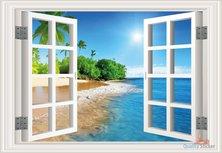Open raam zon, zee & strand. Full color muursticker