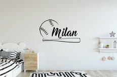 Honkbal met naam (2) muursticker. Kies eigen naam, kleur en maat.