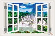 Open raam waterval. Full color muursticker