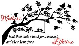Mothers hold their child's hand for a moment and their heart for a lifetime. Muursticker