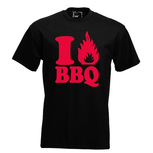 I love BBQ. Keuze uit T-shirt of Polo en div. kleuren. S t/m 5XL