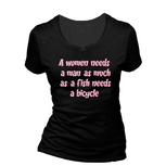 A woman needs a man as much as a fish needs a bicycle. Dames T-shirt in div. kleuren. XS t/m 3XL