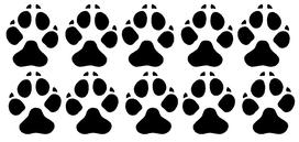 Set van 10 hondenpootjes stickers. 5 links, 5 rechts.