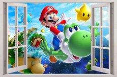 Open raam Mario en Yoshi Nintendo muursticker full color