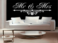 Mr & Mrs met ornament muursticker