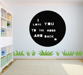 I love you to the moon and back cirkel. Muursticker