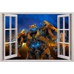 Open raam Transformers Bumbelbee full color muursticker