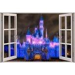 Open raam princess kasteel full color muursticker