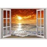 Open raam zonsondergang strand. Full color muursticker