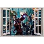 Open raam The Avengers full color muursticker