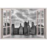 Open raam met uitzicht op New York full color muursticker
