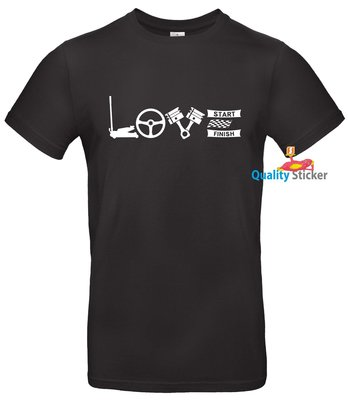 LOVE autocross t-shirt of polo. Maat S t/m 5XL