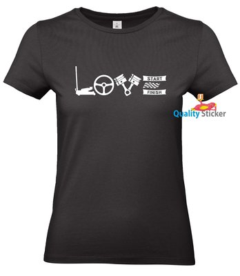 LOVE autocross dames t-shirt of polo. Maat XS t/m 3XL
