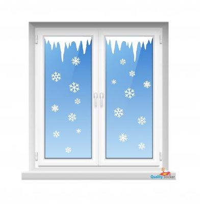 IJspegels en sneeuwvlokken set - statische raamfolie
