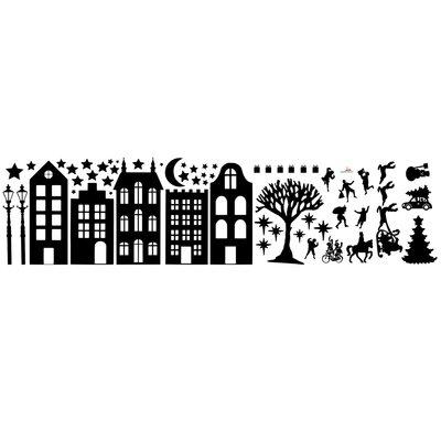 Huisjes set met sint en kerst - statische raamfolie