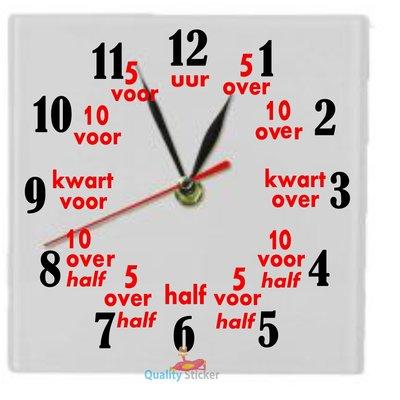Klok vierkant 'Leren klokkijken'