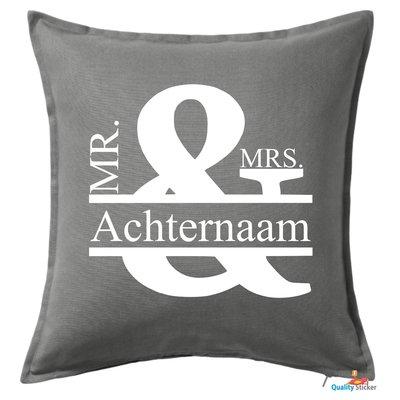 Mr & Mrs naamkussen 50 x 50 cm, keuze in div. kleuren