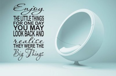 Enjoy the little things for one day you may look back and realise they where the big things. Muursticker / Interieursticker