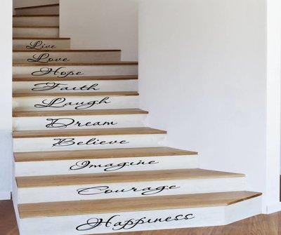 Set van 10 inspiratie woorden voor op b.v. trap. Muursticker / Interieursticker