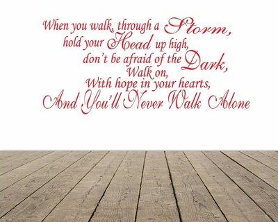 You never walk alone song tekst (Feyenoord). Muursticker