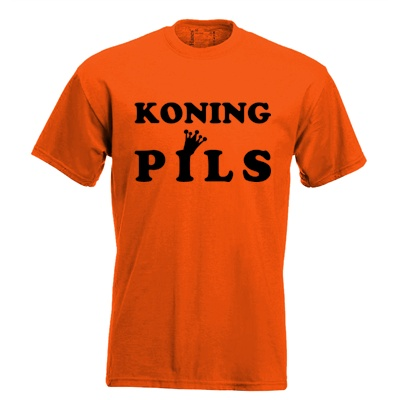 Koning pils. Keuze uit T-shirt of Polo en div. kleuren. S t/m 5XL