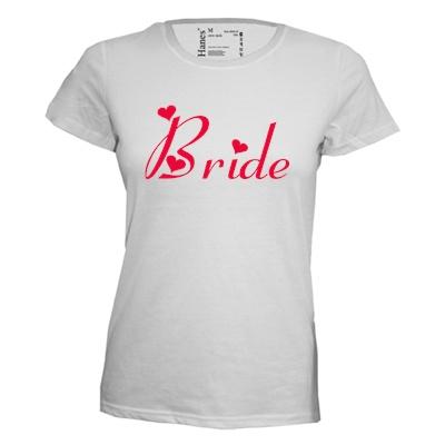 Bride. Dames T-shirt in div. kleuren. XS t/m 3XL