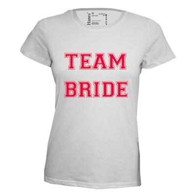 Team bride. Dames T-shirt in div. kleuren. XS t/m 3XL
