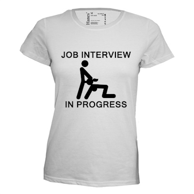 Job intervieuw in progress. Dames T-shirt in div. kleuren. XS t/m 3XL