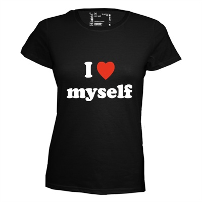 I love myself. Dames T-shirt in div. kleuren. XS t/m 3XL