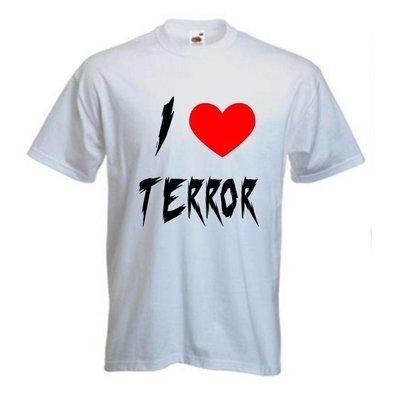 I love terror. T-shirt of Polo en div. kleuren. S t/m 5XL
