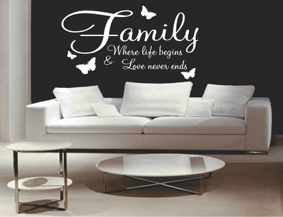 Family where life begins and love never ends (3) muursticker