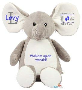 Geboorteknuffel olifant blauw