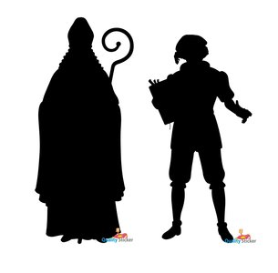 Sinterklaas en Zwarte Piet statische raamfolie
