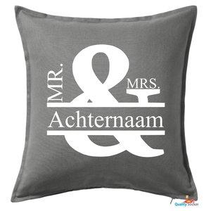 Mr & Mrs kussen met achternaam