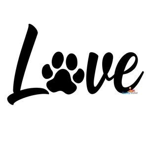 Love hondenpootje autosticker