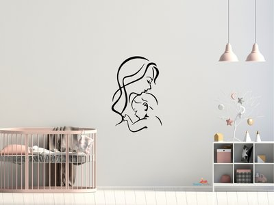 Moeder en baby 5 muursticker