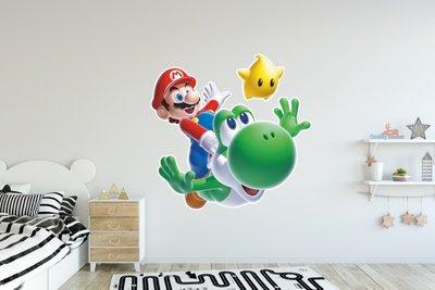 Mario en Yoshi 3D full color muursticker