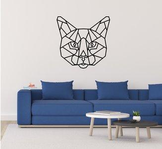Kat hoofd geometrische muursticker